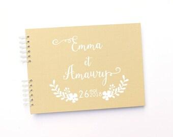 Livre d'or mariage bohème-mariage champêtre 100 pages - lin beige