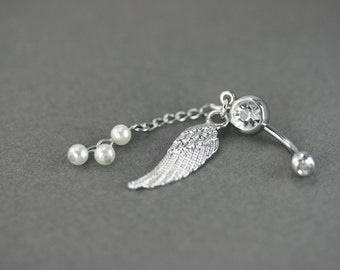 White pearl navel piercing, Belly button piercing, Pearl belly button jewelry, Dangle Pearl navel jewelry Angel wing navel piercing handmade