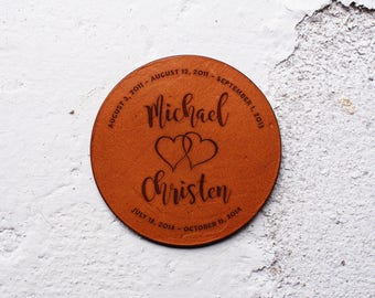 Personalise it, Leather Anniversary Gift, 3rd year anniversary gift, Leather Coasters, 3 year anniversary, Personalised gifts, Leather Gift