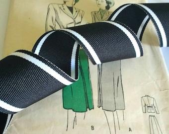 "Black and White Grosgrain Ribbon, Striped Grosgrain Ribbon 1.5"" inch"