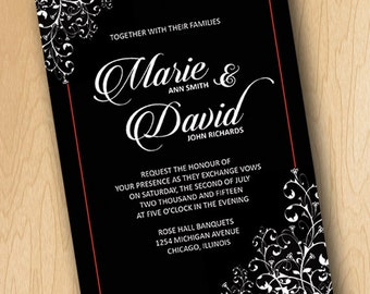 Elegant Black with Red Accent Wedding Invitation & Reception Card- Printable Digital File ONLY