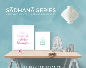6 Sanskrit Mantras Printables Package - Instant Digital Download