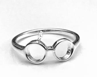 Harry Potter Ring, Lightning Ring, Glasses Ring, Sterling SilverRing, Tree of Life Jewelry, Gifts for Her