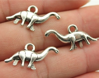 10 Dinosaur Charms, Antique Silver Tone Charms