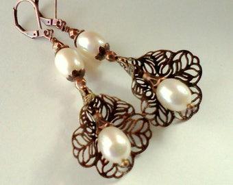 Freshwater Pearl Earrings, Handmade Filigree Dangles, Freshwater Dangles, Oval Pearl Earrings, Pearl Duo Dangles, Vintage Style, Victorian
