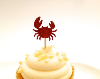 24 Red Glitter Crab Party Picks - Food Picks - Cupcake Toppers