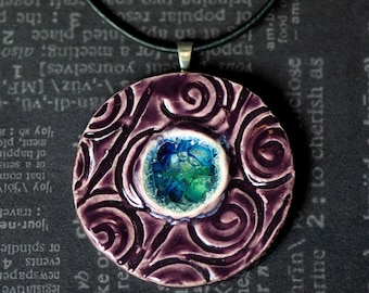 Circles and Swirls - Purple and Blue Necklace