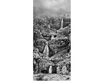 waterfall photography, black and white photography, iceland, iceland art, panoramic photo, iceland photography, large wall art, landscape