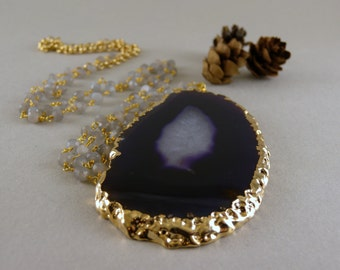 Long Purple and White Agate Geode Slice Stone Necklace in Gold and Gray Moonstone Stone Chain