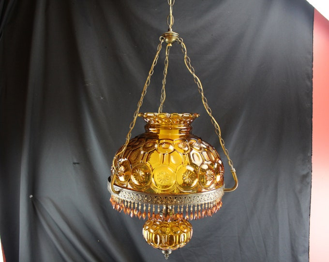 Victorian LE Smith Glass Moon and Stars Amber Hanging Light Fixture