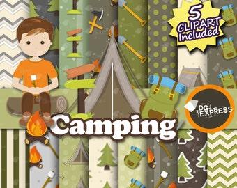 "Camping Digital Paper + Clipart : ""Camping Digital Paper"" - Camping Clipart, Camping Invite, Camping Clipart, Camping tent"