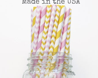 Pink Lemonade Party, Paper Straws, Pink Paper Straws, Yellow Paper Straws Wedding Baby Shower Kids Birthday Party Wedding Table Setting, USA