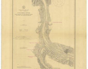Columbia River Map - Saint Helens to Vancouver - 1909