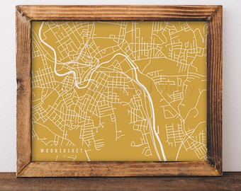 Woonsocket map Etsy
