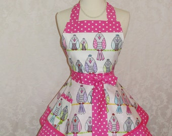 Retro Chic Apron in Owls Let's Tweet with Hot Pink and White Dots With Double Skirts Flirty Chic Womans Apron - Ready to Ship