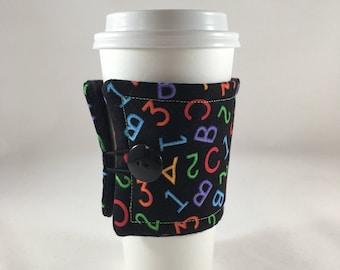 Teacher Insulated Coffee Sleeve, Teacher, Teacher Gift, Cup Cozy, Fabric Drink Sleeve, Coffee Sleeve, Coffee Cozy, Drink Sleeve, Gift