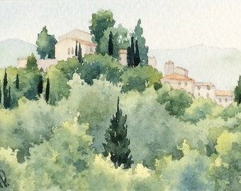 Original watercolor ACEO painting - Barga
