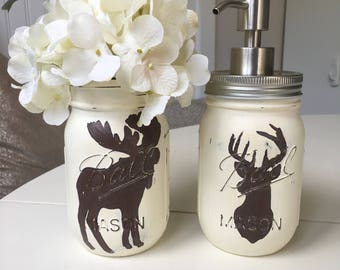 Deer and Moose Mason Jar Soap Dispensers