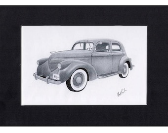 Car art  pencil drawing of a 1937 Willys