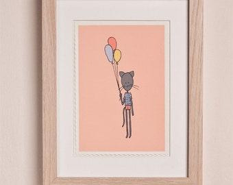 silkscreen print - cat with balloons