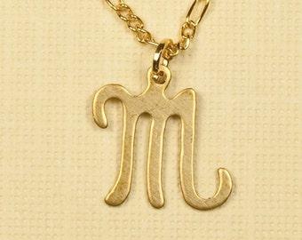 Vintage M Letter Inicial Necklace