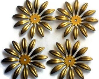 Vintage Brass Flower Connectors Spacer Stackable Flowers 47mm Flower Power. #1449