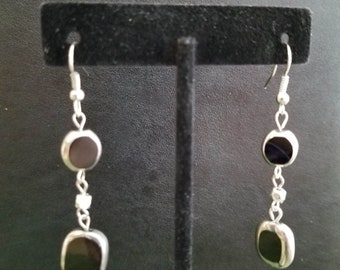 black and silver dangling earring
