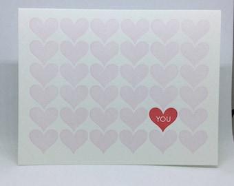 Heart You, Heart Pattern Letterpress Card