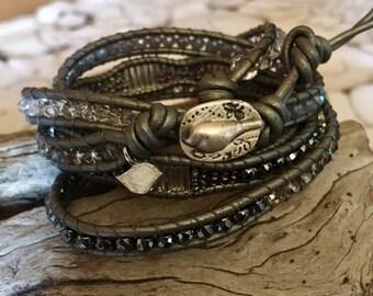 Silver Grey wrap bracelet