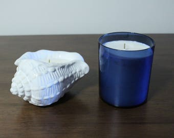 Handmade Soy Ocean Breeze Candle Set in Salvaged Holders