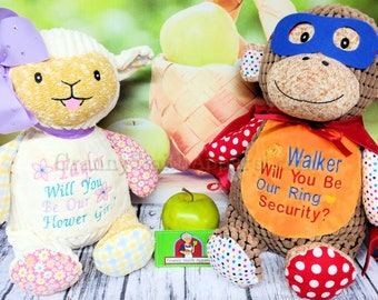 Flower girl ring security set of Stuffed Plush animals. Will design Custom duo or customize this design.  Pick from any animals in stock!!!