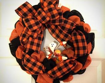 Halloween Wreath, Burlap Halloween Wreath, Halloween Mini Wreath, Rustic Halloween Decor, Halloween Door Hanger, Halloween Window Decor