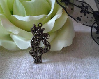set of 5 cats carved bronze