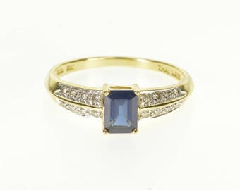 14k Sapphire Emerald Cut Diamond Accented Ring Gold