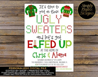 Elfed Up Ugly Christmas Party Invitation