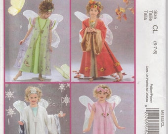 Fairy Costume Pattern Wings Angel Halloween Dress Up Uncut Girls Size 6 - 8 McCalls 5152
