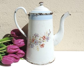 French Vintage Enamel Transferware Coffee Pot/French Vintage Coffee Pot/ Vintage Enamelware/Vintage Enamel Coffee Pot/French Enamelware