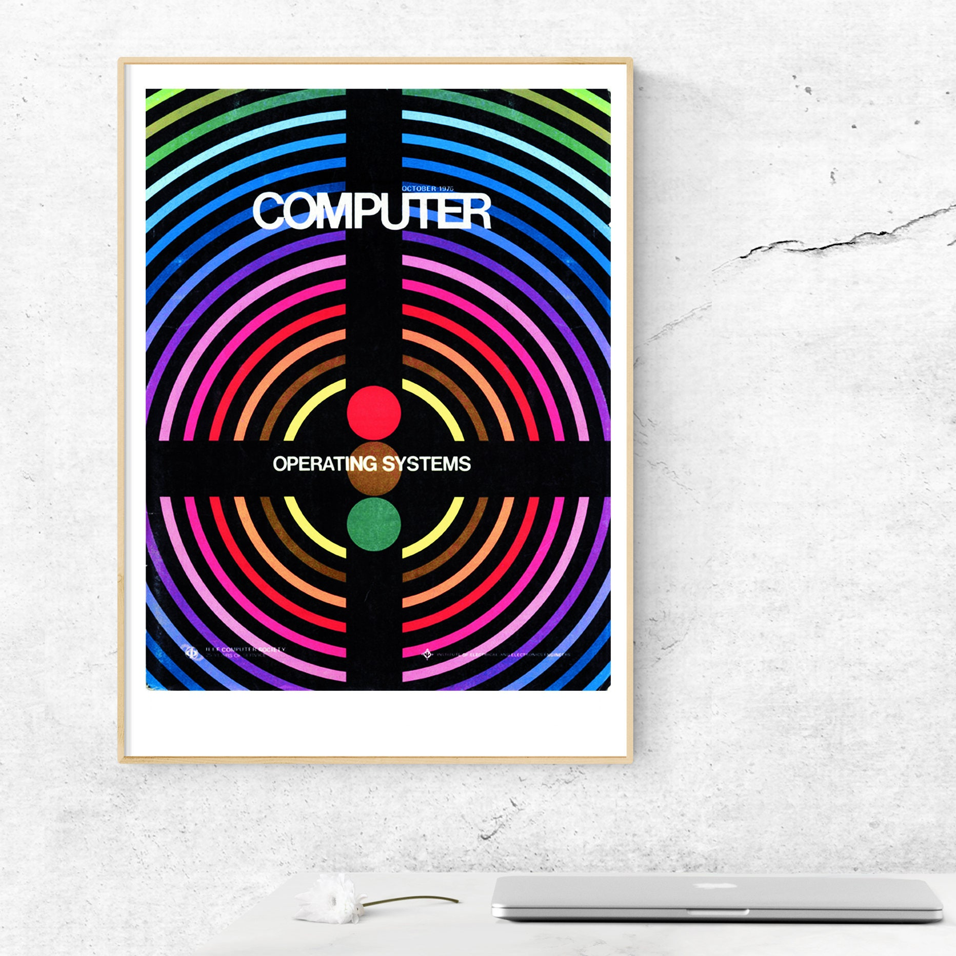 1970s puter Poster Wall Art Science Geek Print Retro Graphic