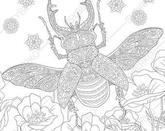 Stag Beetle. 2 Coloring Pages. Animal coloring book pages for Adults. Instant Download Print