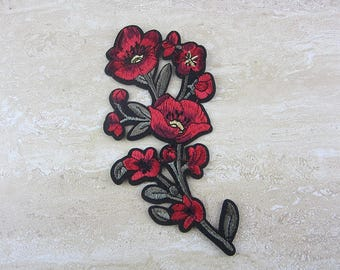 RED FLOWER Patch Iron On
