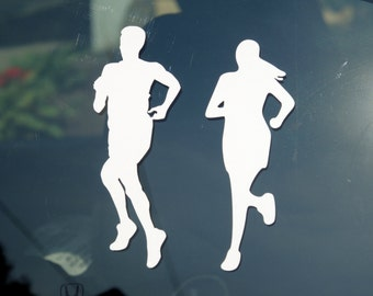 Male and female runners decal - car windows, laptop