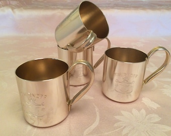 Set Of Four Smirnoff Vodka Mule 80-100 Proof Distilled From Grain 1982 Retro Copper Smirnoff Mug.