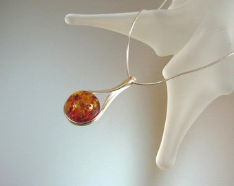 Baltic Amber and Sterling Silver Pendant Necklace - Natural Honey Baltic Amber Jewelry