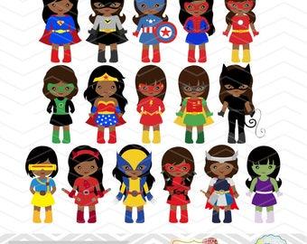 32 African American Superhero Girls Digital Clipart, African American Superhero Clip Art, Girl Superhero Clip Art Little Girl Superhero 0276