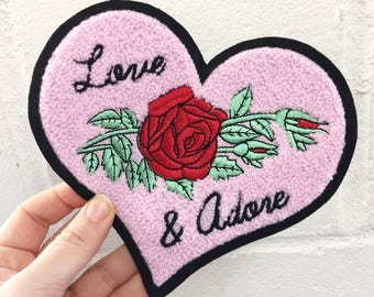 Love & Adore Rose Chenille Sew on Patch