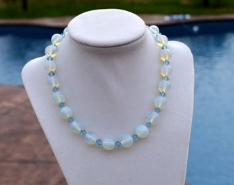 Pale Blue Czech Glass Crystal Necklace Sterling Silver Heart Toggle Closure, Blue Necklace, Wedding Bridal Necklace, Blue Jewelry