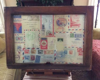 Vintage Window with postage stamp theme