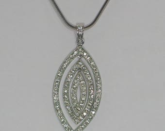 Sterling Silver, Pendant, Necklace,Marquis Shape Design, Cubic Zirconia, CZ, Necklace Pendant, Women's