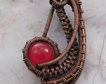 Sale! Red jade and copper pendant, wire wrapped copper pendant, copper jewelry, woven copper necklace, made in USA