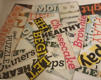 100 magazine word clippings